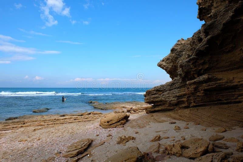 Ландшафт пляжа Palmachim сценарный стоковые изображения rf