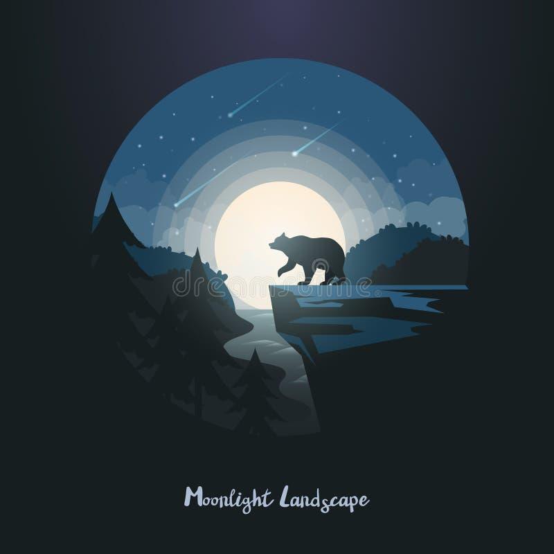 Ландшафт полночи или ночи с медведем на утесе иллюстрация вектора