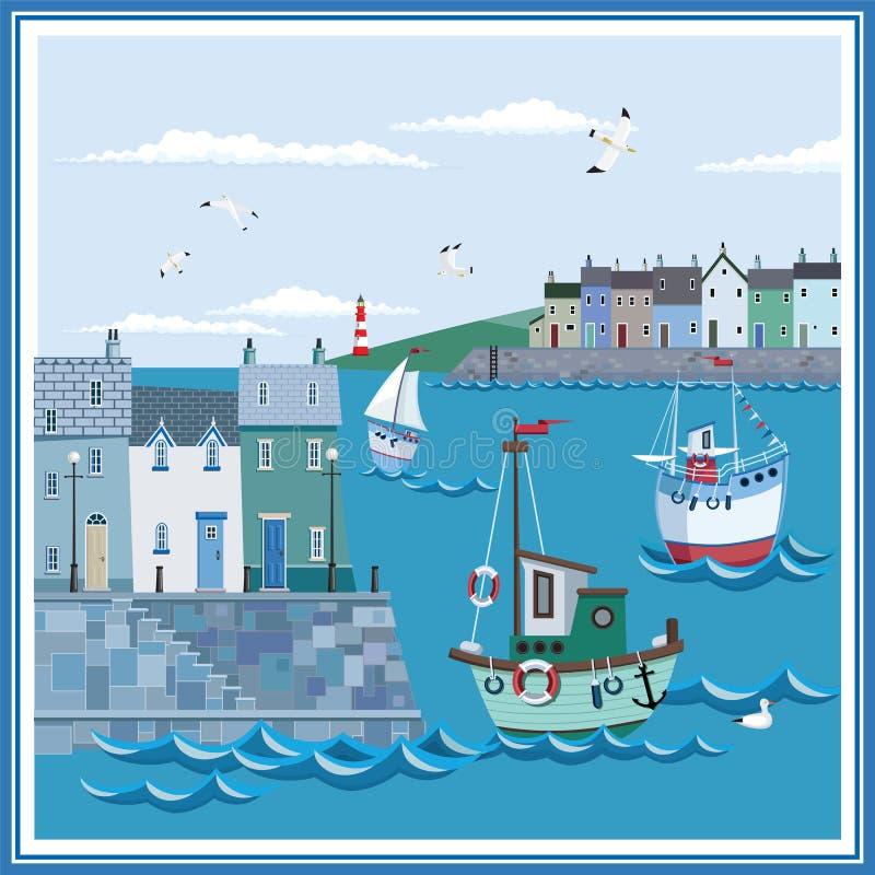 Ландшафт прибрежного городка моря с обваловкой, домами, шлюпками и маяком бесплатная иллюстрация
