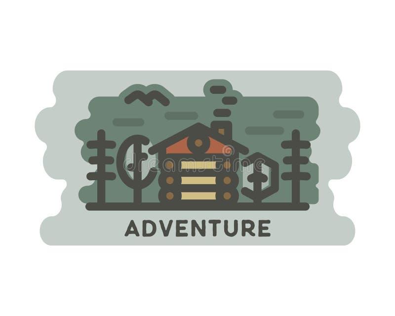 Ландшафт приключения лета с деревянным домом в сцене леса внешней, приключениях в природе с деревьями, птице Битник иллюстрация вектора