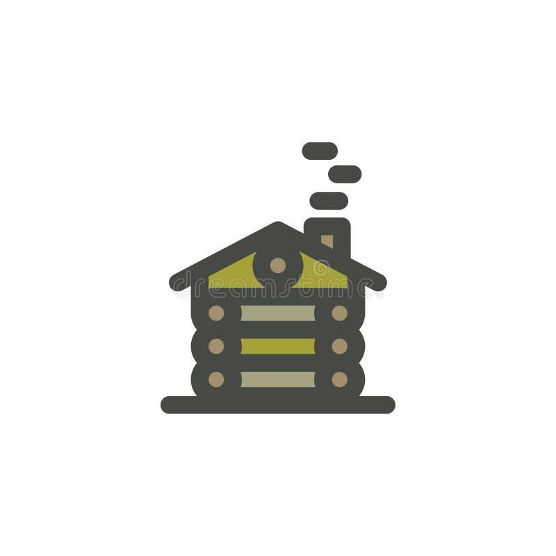Ландшафт приключения лета с деревянным домом в сцене леса внешней, приключениях в природе с деревьями, птице Битник бесплатная иллюстрация
