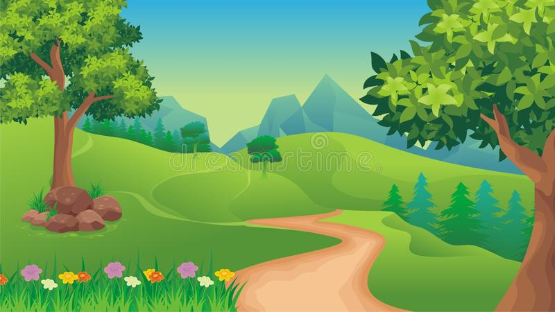 Ландшафт природы, предпосылка игры шаржа иллюстрация вектора
