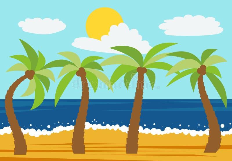 Ландшафт природы шаржа с 4 ладонями в пляже лета бесплатная иллюстрация