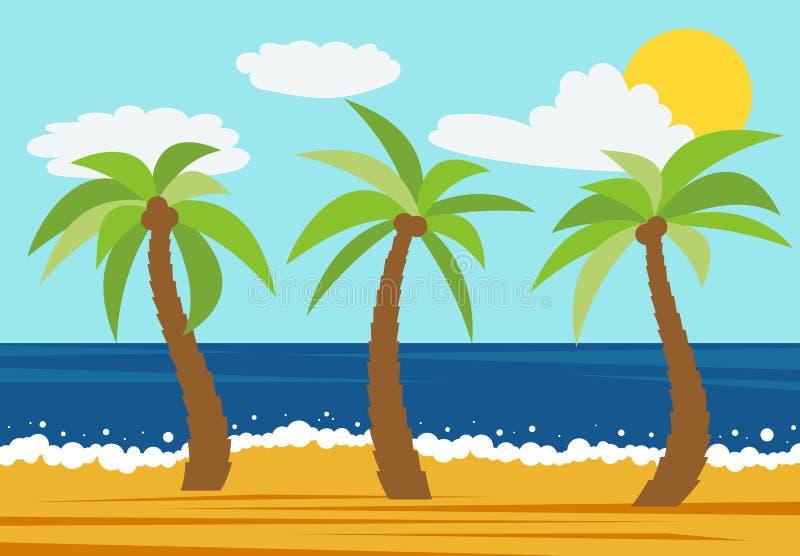 Ландшафт природы шаржа с 3 ладонями в пляже лета иллюстрация штока