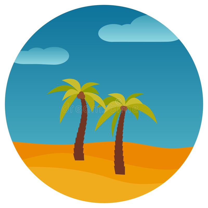 Ландшафт природы шаржа с 2 ладонями в пустыне в круге иллюстрация штока