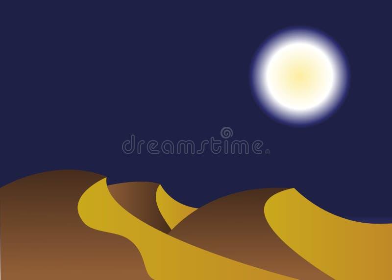 Ландшафт пустыни в ночи иллюстрация штока