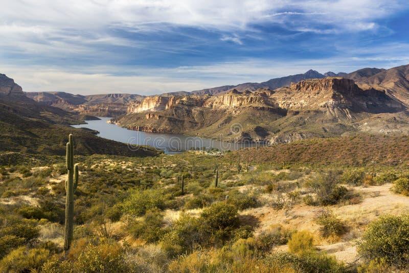 Ландшафт пустыни озера апаш сценарный в горах суеверия Аризоны стоковые фотографии rf