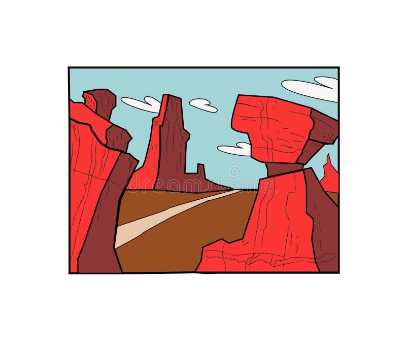 Ландшафт пустыни Cartoony с дорогой иллюстрация вектора