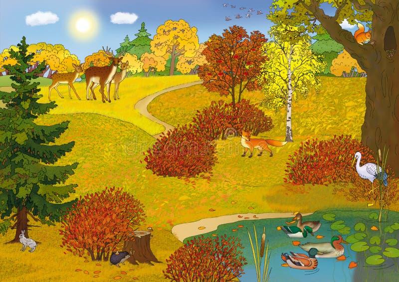 ландшафт пущи иллюстрация штока