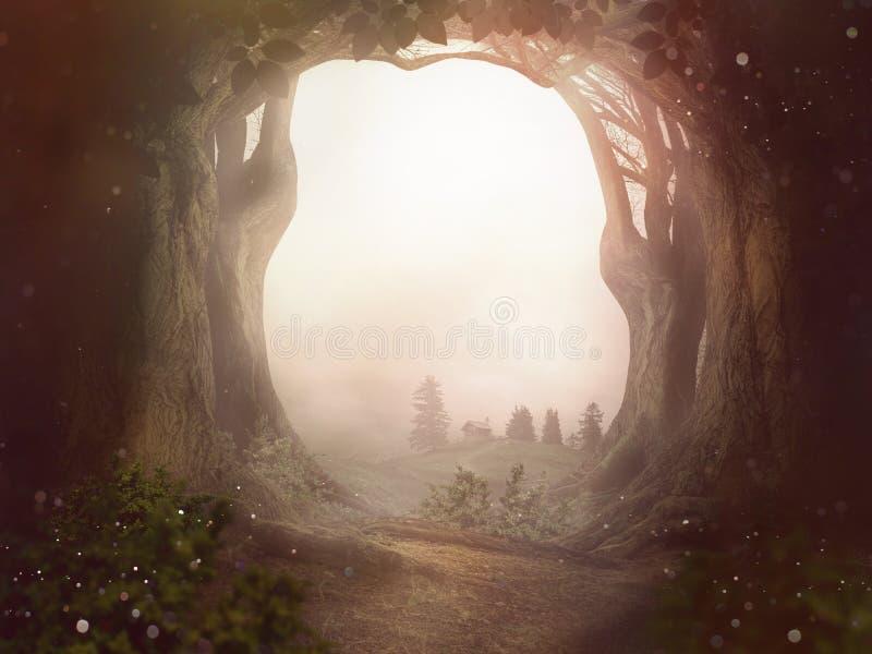 Ландшафт пыли солнца деревьев предпосылки сказки forrest стоковое изображение