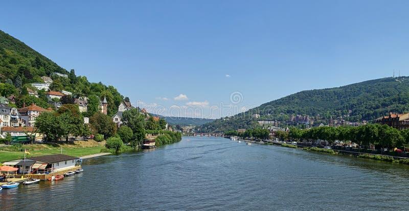 Ландшафт Рекы Neckar - широкоформатный - повышенный взгляд - Гейдельберг стоковое изображение