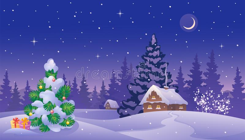Ландшафт рождества twilight иллюстрация штока