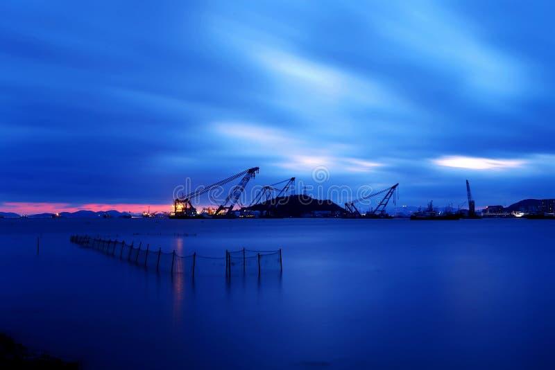 Ландшафт рыбного порта Shenjiamen стоковые изображения rf