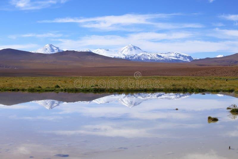 Ландшафт северной Чили с горами Анд и вулканами, пустыней Atacama, Чили стоковые фото