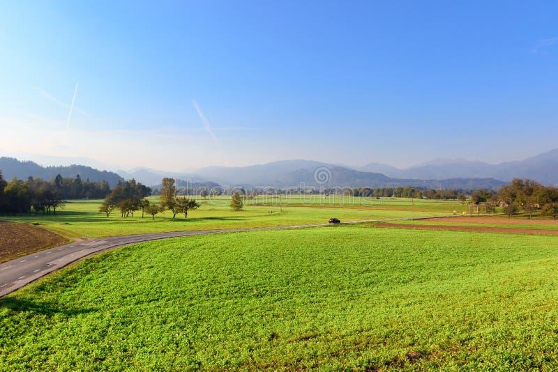 Ландшафт сельской местности в Словении, кровоточенном районе стоковые изображения rf