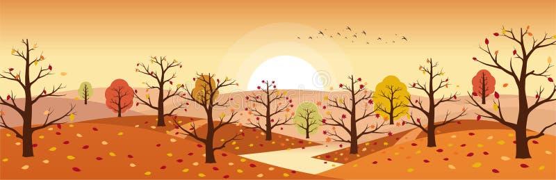 Ландшафт сельской местности осени с рекой Ландшафты гор с деревьями и падать желтая, красная листва Горизонтальное панорамное иллюстрация штока