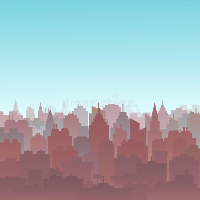 Ландшафт силуэта города захода солнца Предпосылка ландшафта города Городской горизонт с высокими небоскребами панорама иллюстрация вектора
