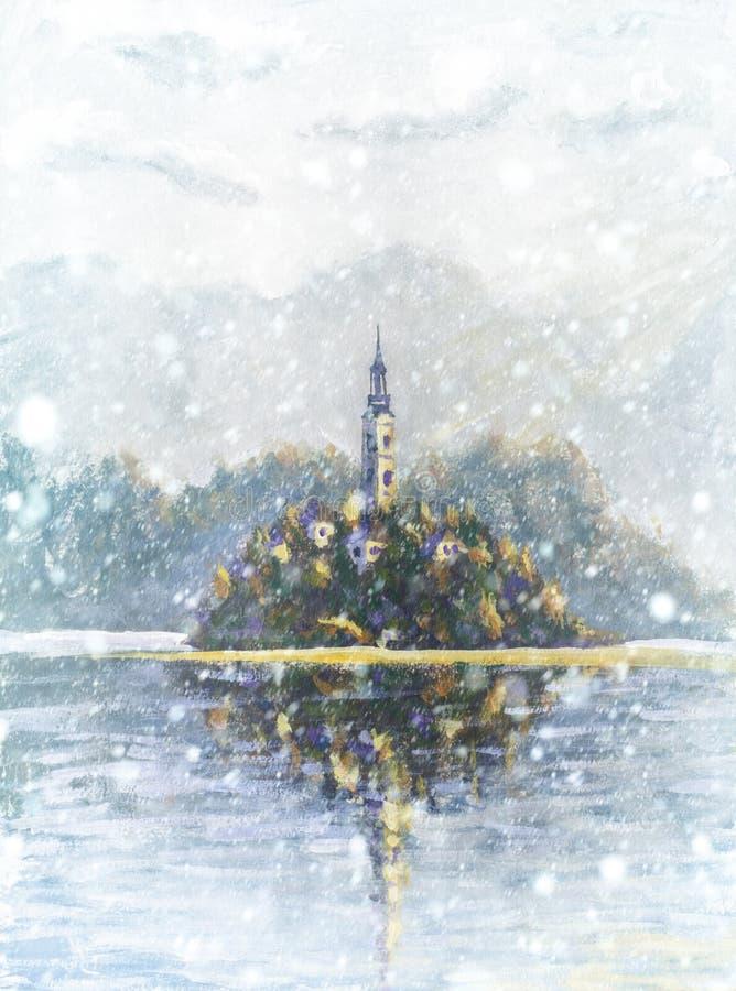 Ландшафт снега зимы со снежинками крася озеро кровоточил Словению Красивое озеро горы с малой церковью паломничества иллюстрация штока