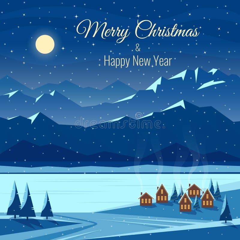 Ландшафт снега ночи зимы с луной, горами Новый Год рождества торжества Поздравительная открытка с текстом бесплатная иллюстрация