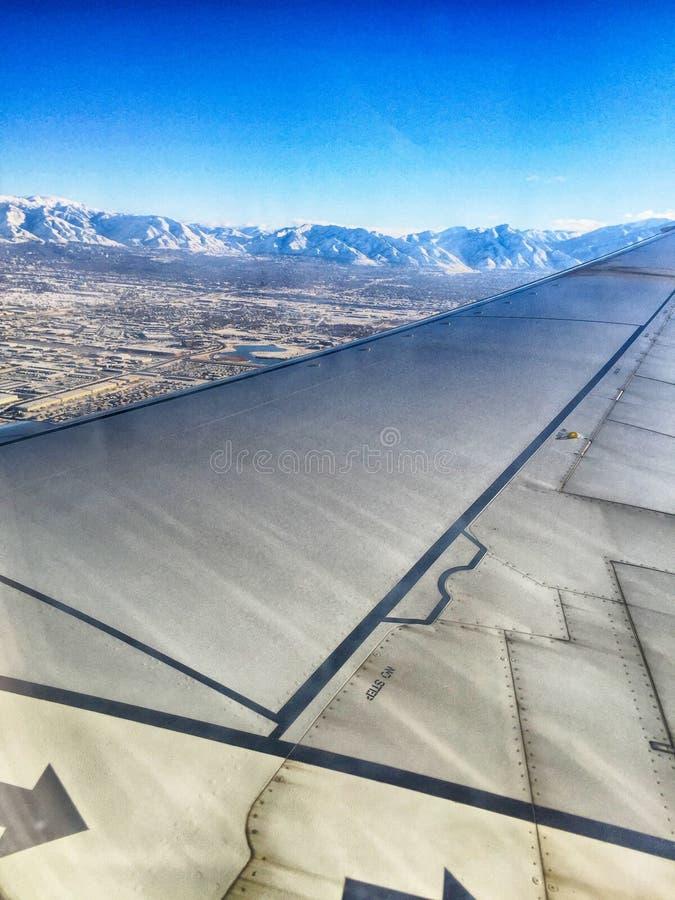ландшафт Солт-Лейк-Сити воздушный во время зимы стоковое изображение