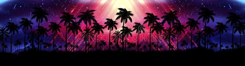 Ландшафт со звездами, заход солнца ночи, звезды Пальмы кокоса силуэта иллюстрация штока