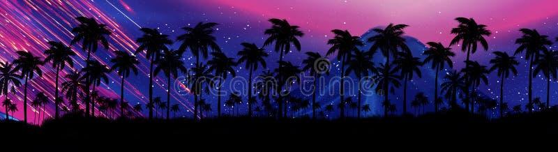 Ландшафт со звездами, заход солнца ночи, звезды Пальмы кокоса силуэта иллюстрация вектора
