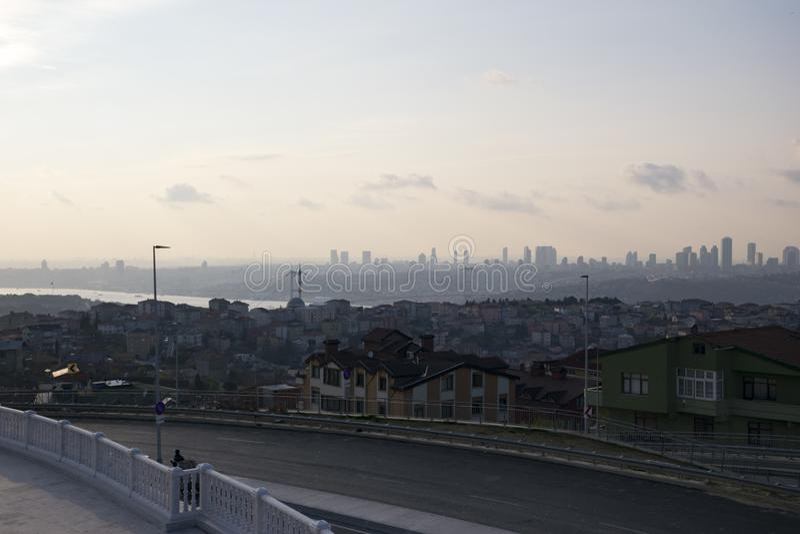 Ландшафт Стамбула от мечети Camlica стоковые изображения rf