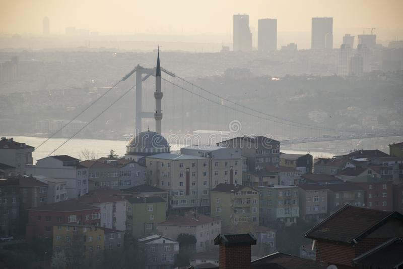 Ландшафт Стамбула от мечети Camlica стоковое изображение rf