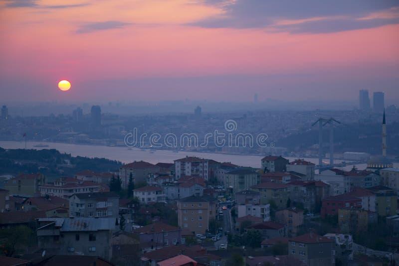 Ландшафт Стамбула от мечети Camlica стоковая фотография rf