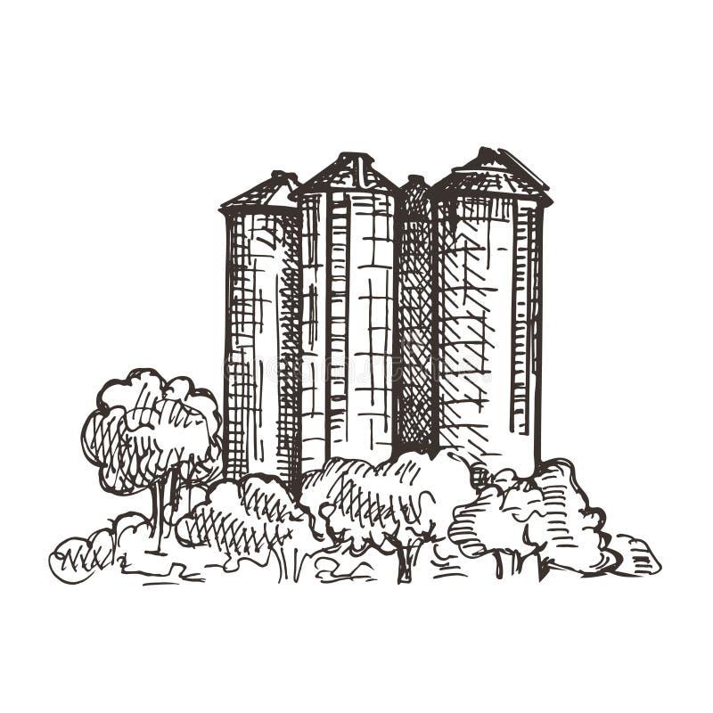 Ландшафт страны с лифтом зерна Графики эскиза иллюстрация штока