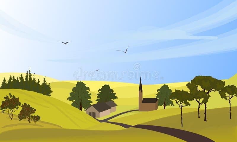 Ландшафт страны Freehand вычерченный стиль outdoors мультфильма Дома фермы, извилистая дорога на лугах, зеленых полях r иллюстрация вектора