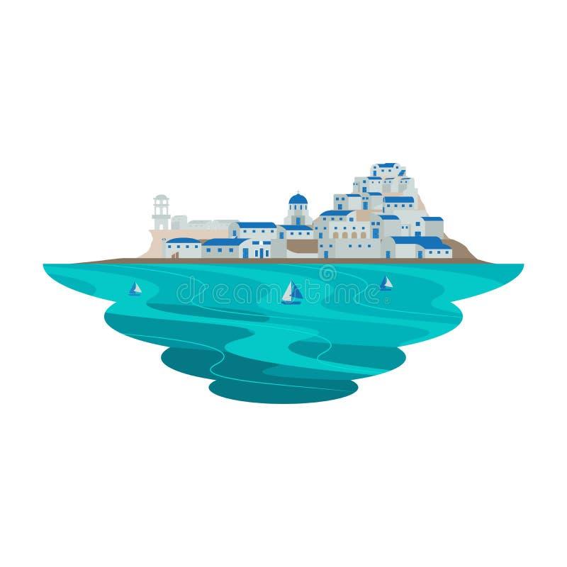 Ландшафт сцены назначения Santorini Греции Европы иллюстрация вектора