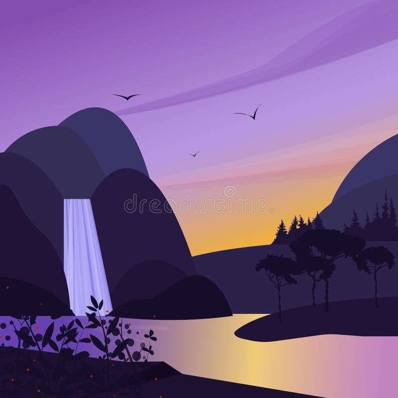 Ландшафт с горами, водопадом и озером Вектор потока воды простой Милый плоский заход солнца или рассвет иллюстрации иллюстрация вектора