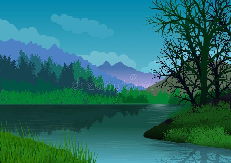 Ландшафт с горами, лесом, озером со спокойной водой и деревьями на переднем плане иллюстрация иллюстрация вектора