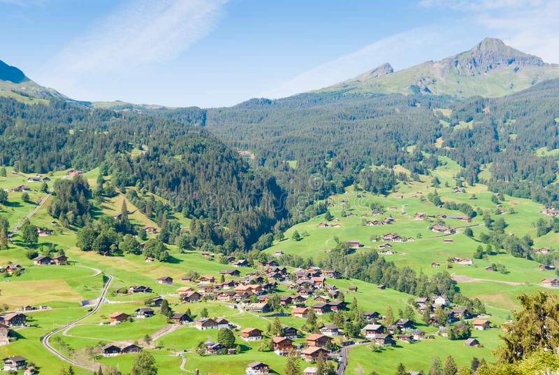 Ландшафт с горным селом в лете, Grindelwald, Швейцарией стоковые фотографии rf