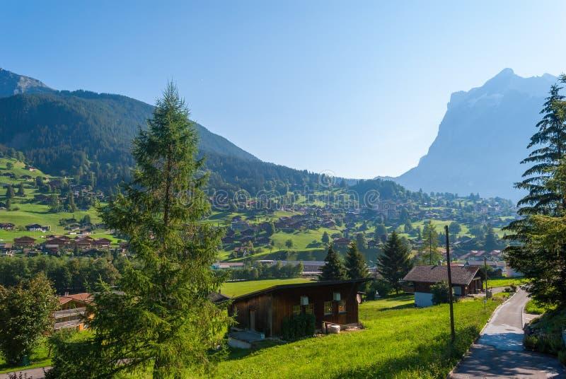 Ландшафт с горным селом в лете, Grindelwald, Швейцарией стоковые изображения rf