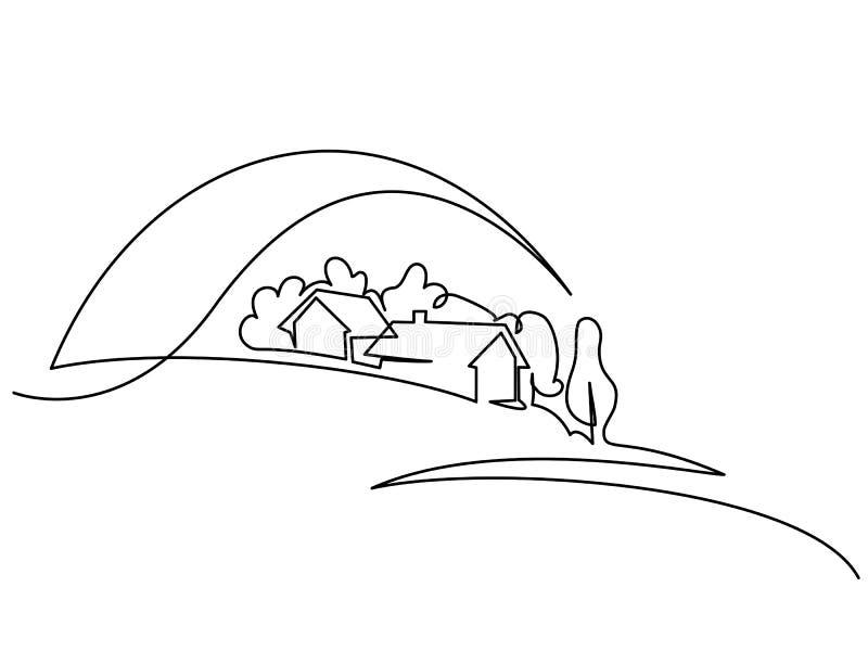 Ландшафт с деревней на холме иллюстрация вектора