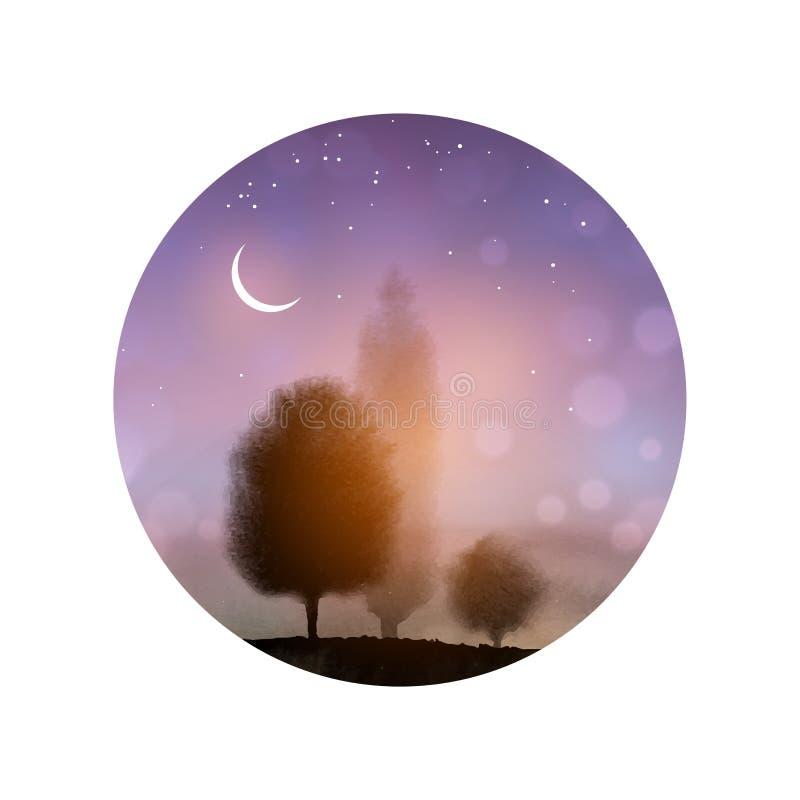 Ландшафт с деревьями и ночным небом с звездами и луной в круге иллюстрация вектора