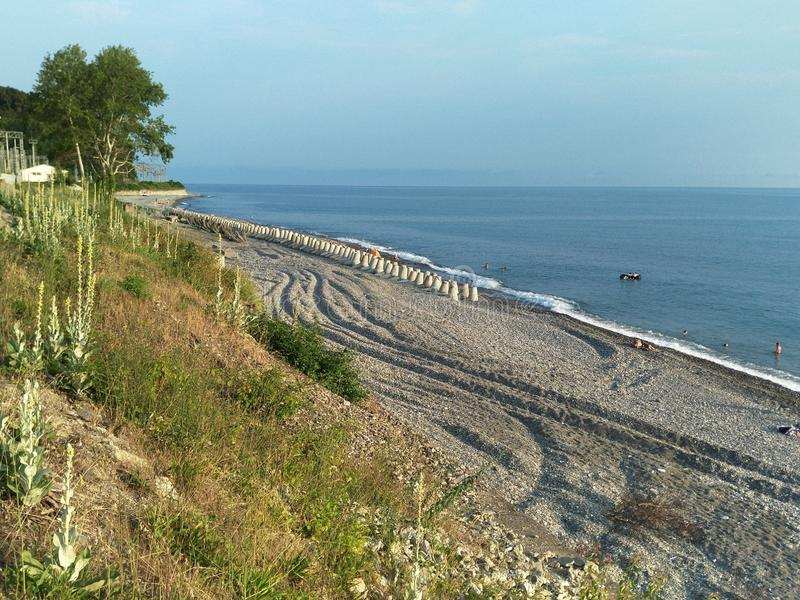 Ландшафт с диким пляжем, в сельской местности стоковое изображение rf