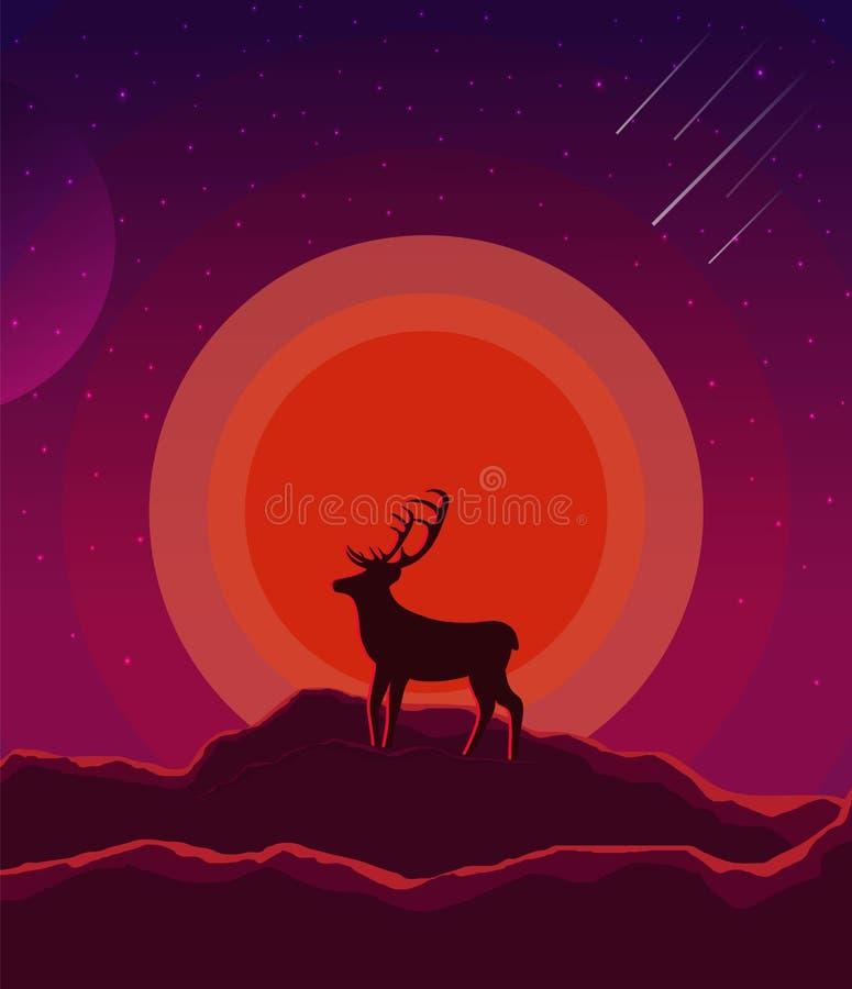 Ландшафт с заходом солнца, планетой и звездным небом Ландшафт природы в фиолете теней, пурпурном с силуэтом оленя и гор иллюстрация штока