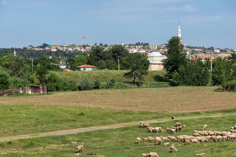 Ландшафт с зелеными лугами на окраинах города Эдирне, восточной Фракии, Турции стоковые фото