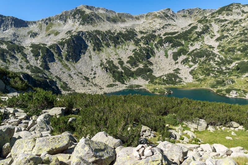 Ландшафт с зелеными холмами и Banderitsa удят озеро, гору Pirin, Болгарию стоковое изображение
