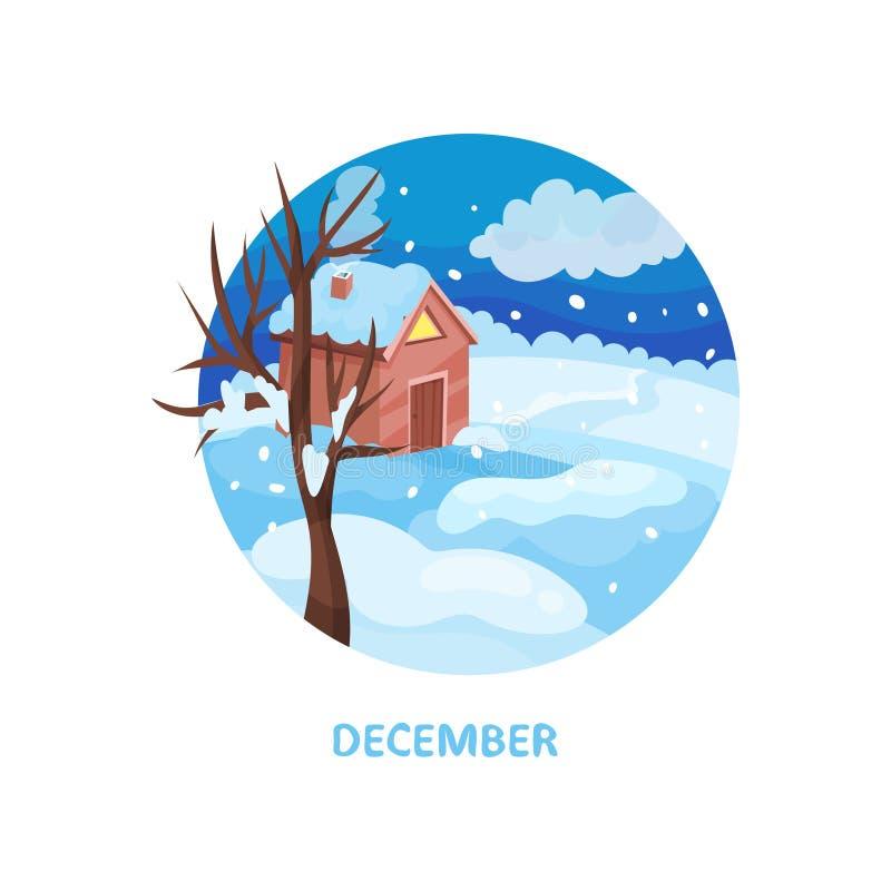 Ландшафт с меньшим домом, дерево зимы, снег на, который выросли и синие небе Месяц в декабре холодный сезон Плоский вектор иллюстрация вектора