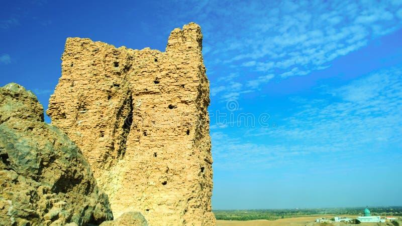 Ландшафт с мечетью на месте рождения Авраама пророка и Ziggurat Birs Nimrud, Ирака стоковые изображения rf