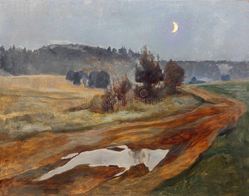 Ландшафт с проселочной дорогой на сумраке и поднятой луне иллюстрация вектора
