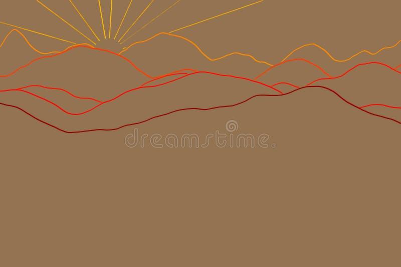 Ландшафт с силуэтами гор и леса на восходе солнца иллюстрация штока