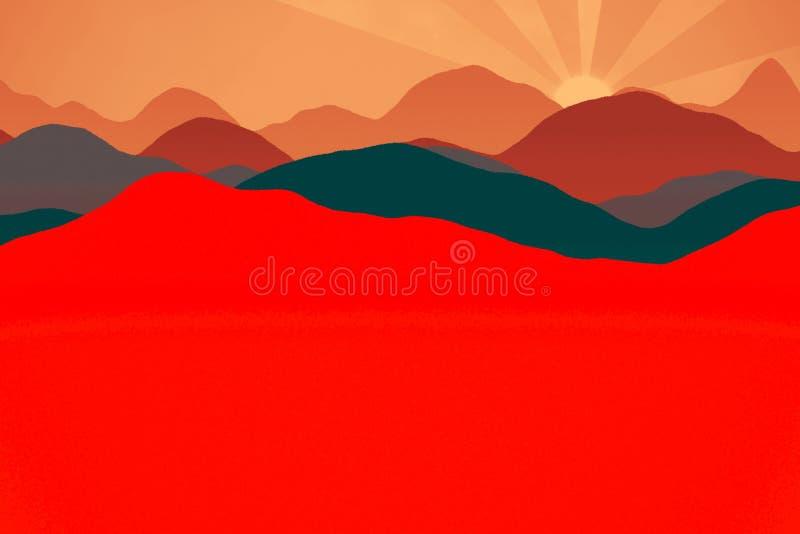 Ландшафт с силуэтами гор и леса на восходе солнца иллюстрация вектора