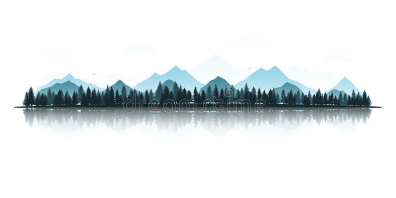Ландшафт с силуэтами оленей, лисы, орлов, гор и лесов иллюстрация вектора