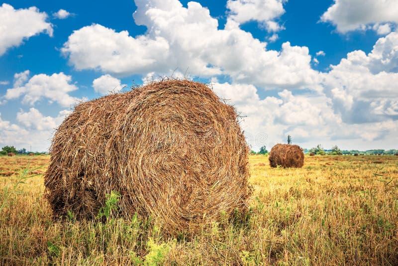 Ландшафт с стогом сена на поле стоковые фото