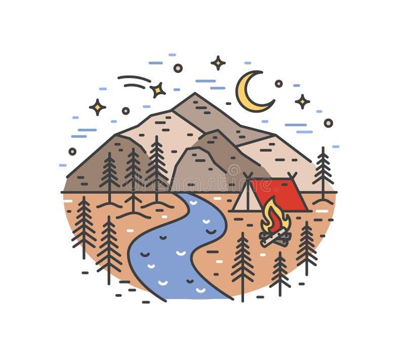 Ландшафт с шатром и лагерным костером в древесинах на речном береге против красивых гор и ночного неба на предпосылке Кемпинг иллюстрация вектора